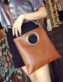 Elegant Brown Circular Ring Decorated Pure Color Handbag