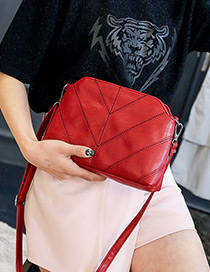 Trendy Red Pure Color Decorated Shell Shape Shoulder Bag