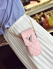 Fashion Pink Letter V Decorated Pure Color Mini Shoulder Bag