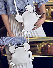 Fashion White Pure Color Decorated Crab Shape Shoulder Bag