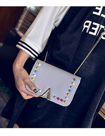 Fashion Light Gray Rivet Decorated Color Matching Simple Shoulder Bag