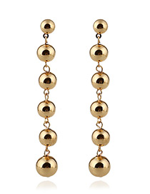 Trendy Gold Color Round Balls Decorated Tassel Design Earrings