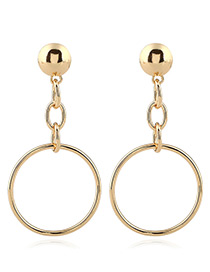 Trendy Gold Color Circular Ring Decorated Pure Color Simple Earrings