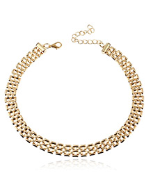 Trendy Gold Color Pure Color Decorated Double Layer Design Necklace
