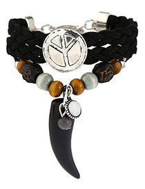 Trendy Black+silver Color Ox Horn&beads Decorated Multi-layer Simple Bracelet