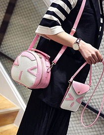 Lovely Pink Cartoon Cat Decorated Color Matching Shoulder Bag(2pcs)