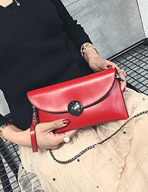 Fashion Red Pure Color Decorated Square Shape Mini Shoulder Bag