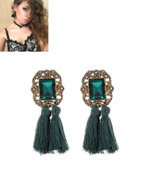 Fashion Green+plum Red Tassel Decorated Pure Color Simple Earrings
