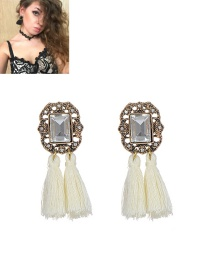 Fashion White Tassel Decorated Pure Color Simple Earrings