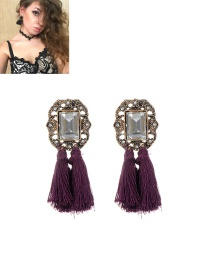 Fashion Purple Tassel Decorated Pure Color Simple Earrings