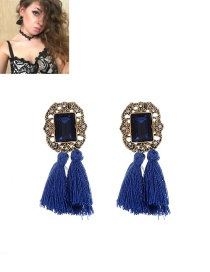 Fashion Sapphire Blue Tassel Decorated Pure Color Simple Earrings