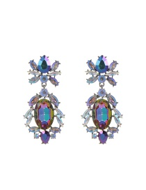 Luxury Multi-color Round Shape Diamond Decorated Simple Earrings