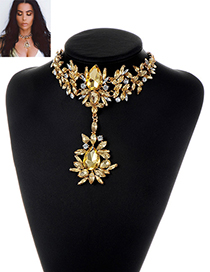 Fashion Champagne Water Drop Shape Diamond Decorated Pure Color Necklace