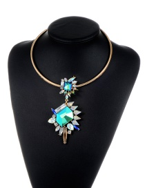 Exaggerate Blue Irregularity Shape Diamond Decorated Simple Short Chain Necklace