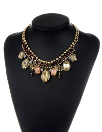 Fashion Multi-color Metal Butterfly Shape Decorated Simple Short Chain Necklace