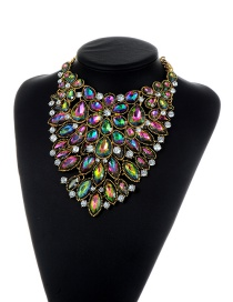 Trendy Green+plum Red Water Drop Shape Diamond Decorated Color Matching Jewelry Sets