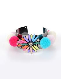 Trendy Multi-color Flower&fuzzy Balls Decorated Color Matching Opening Bracelet