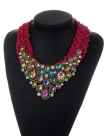 Trendy Red+green+plum Red Water Drop Shape Diamond Decorated Color Matching Necklace