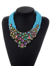 Trendy Yellow+green+plum Red Water Drop Shape Diamond Decorated Color Matching Necklace