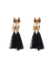 Trendy Black Tassel&leaf Decorated Color Matching Simple Earrings