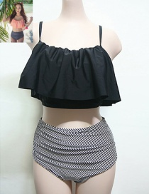 Trendy Black Tripe Pattern Decorated High Waist Simple Design Bikini