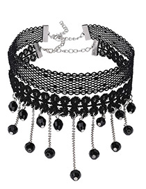 Fashion Black Tassel&beads Decorated Double Layer Pure Color Choker