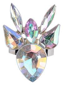 Trendy Multi-color Oval Shape Diamond Decorated Color Matching Simple Ring