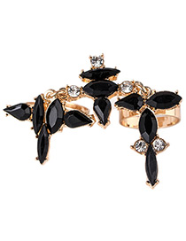 Trendy Black Oval Shape Diamond Decorated Pure Color Hollow Out Ring