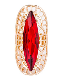 Trendy Red Oval Shape Diamond Decorated Hollow Out Design Ring