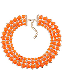 Trendy Orange Diamond Decorated Bead Shape Pure Color Simple Necklace