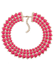Trendy Plum Red Diamond Decorated Bead Shape Pure Color Simple Necklace