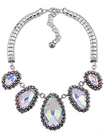 Trendy Silver Color Diamond Decorated Pure Color Simple Design Necklace