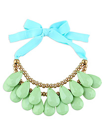 Fashion Green Water Drop Shape Decorated Lace-up Design Color Matching Necklace