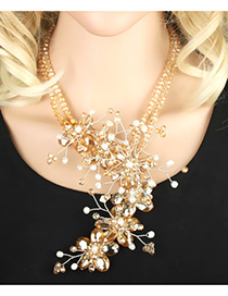 Trendy Champagne Flower Shape Decorated Simple Double Layer Necklace