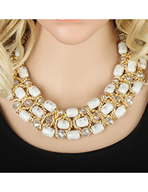 Trendy White Round Shape Decorated Simple Multilayer Short Chain Necklace