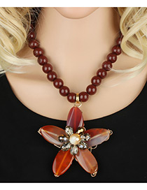 Bohemia Claret-red Flower Pendant Decorated Simple Short Chain Necklace