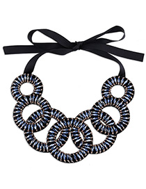 Bohemia Blue Hollow Out Decorated Simple Short Chain Necklace