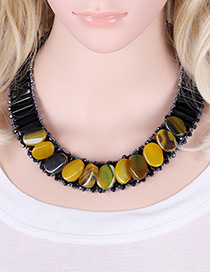 Fashion Yellow Oval Shape Decorated Simple Short Chain Necklace