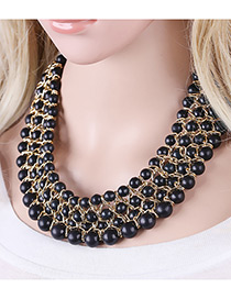 Bohemia Black Round Shape Decorated Simple Multilayer Necklace