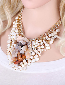 Exaggerate White Stone Shape Tassel Decorated Simple Short Chain Necklace