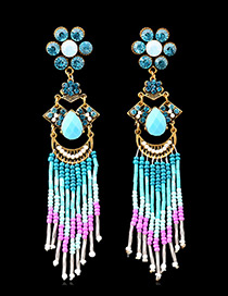 Bohemia Blue Oval Shape Diamond Decorated Simple Tassel Earrings