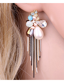 Bohemia Multi-color Flower Shape Decorated Simple Long Chain Earrings