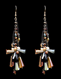 Fashion Multi-color Tassel Pendant Decorated Color Matching Long Earrings