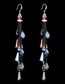 Bohemia Multi-color Trapezoid Shape Decorated Simple Long Chain Earrings