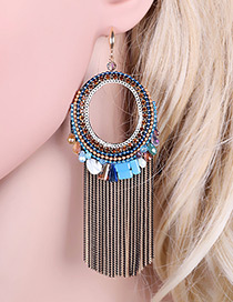 Bohemia Multi-color Hollow Out Round Shape Decorated Simple Tassel Earrings