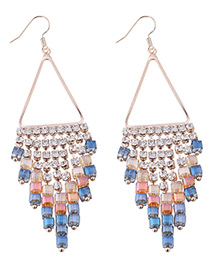 Bohemia Blue Hollow Out Triangle Shape Decorated Simple Tassel Earrings