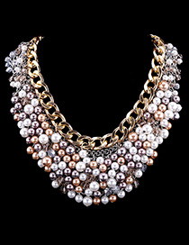 Elegant Multi-color Round Shape Decorated Simple Multilayer Short Chain Necklace