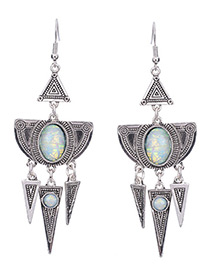 Vintage Silver Color Round Gemstone Decorated Triangle Design Earrings