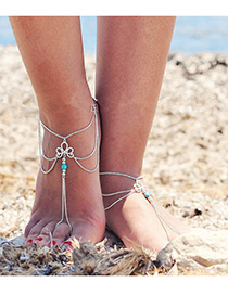 Elegant Silver Color Hollow Out Decorated Simple Long Tassel Anklet