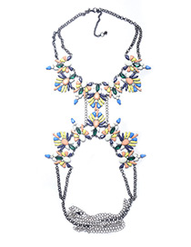 Exaggerate Multi-color Waterdrop Shape Diamond Decorated Simple Body Chain